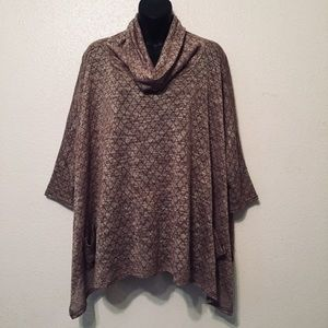 Umgee Sweater Poncho Cowl Neck Knit Top Tunic